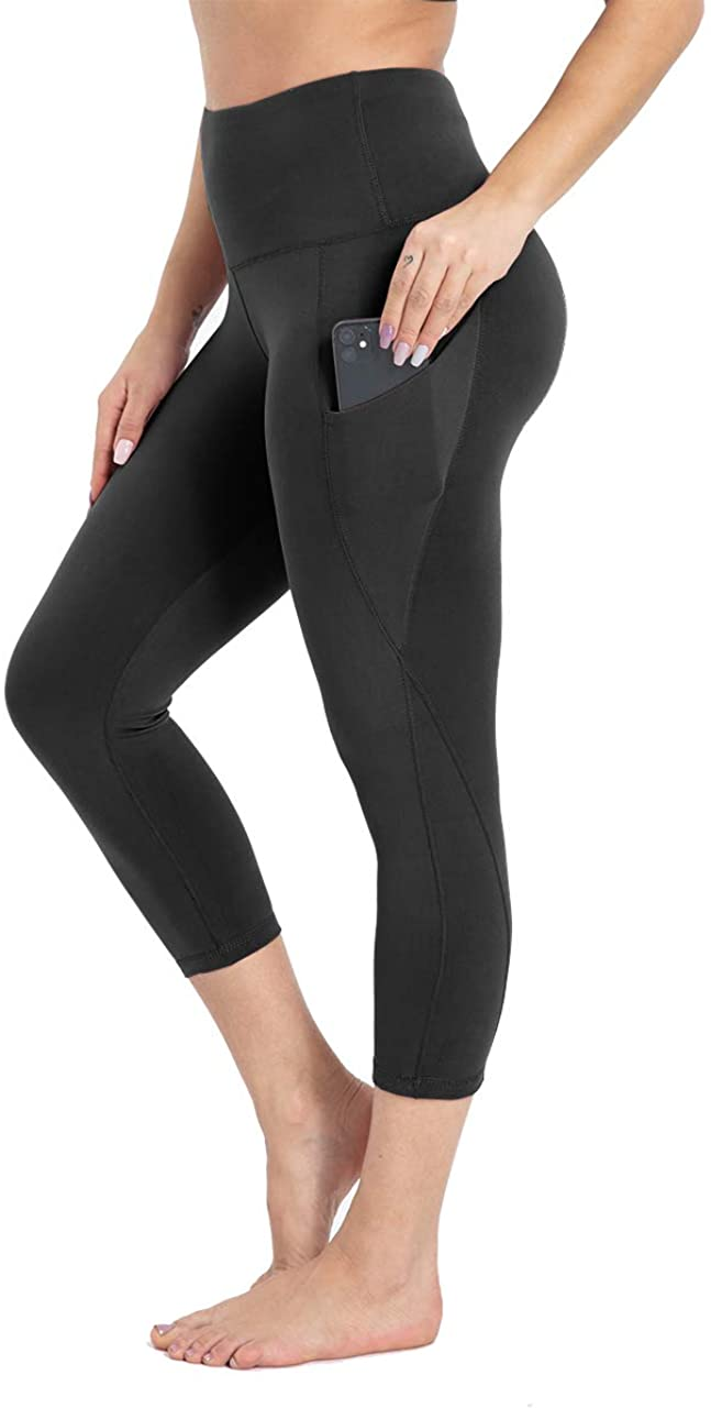 HIGHDAYS Yoga Pants for Women with Pocket - High Waist Capri Leggings for Workout Running Cycling Athletic Hiking