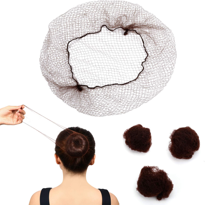 120 Pieces Hair Nets Invisible Elastic Edge Mesh 22 Inch Brown Nylon Invisible Hairnet for Women, Girls, Hair Bun Making, Ballet Dancer