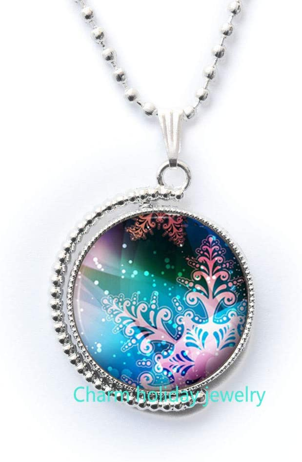 Snowflake Necklace-Christmas Jewelry-Picture Pendant Gift Ideas for Her-Bridesmaid Necklace-#288