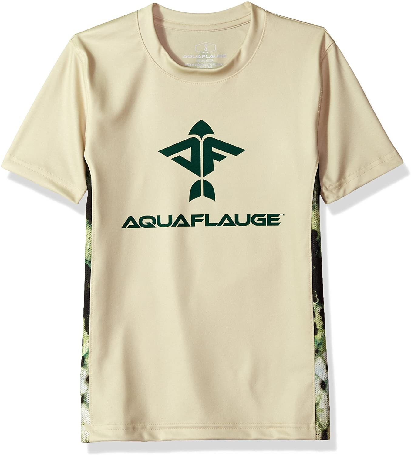 AquaFlauge Boys' Youth s/s 100% Performance Poly mesh Inset tee