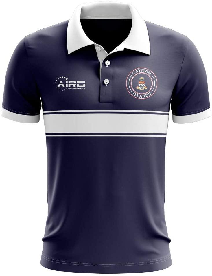 Airosportswear Cayman Islands Concept Stripe Polo Football Soccer T-Shirt Jersey (Navy) - Kids