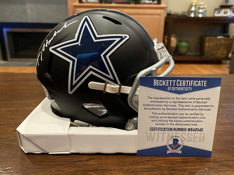 Autographed Roger Staubach Mini Helmet - Flat Black Witness Beckett - Beckett Authentication - Autographed NFL Mini Helmets