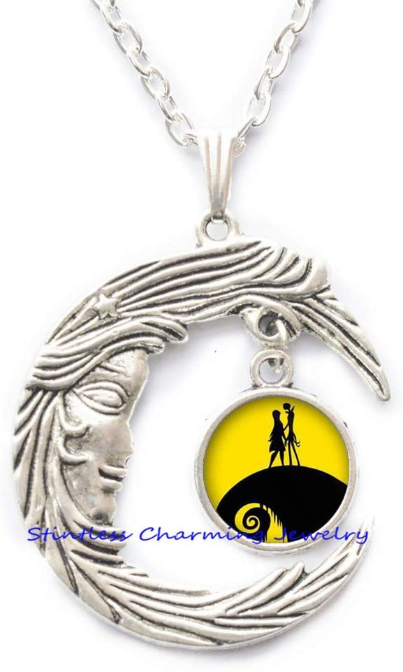 stintless charming Jewelry Christmas Necklace,Jack Skellington Sally Pendant, Wedding Gifts, Art Gifts Accessories for Men, for women-JV263