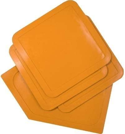 Throw-Down Baseball Bases...Set Of 3 Bases & 1 Home Plate...Orange (2 Sets of Bases)
