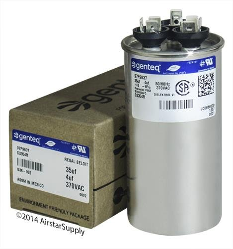 GE Z97F9837-35 + 4 uf MFD 370 Volt VAC Genteq Replacement Round Dual Run Capacitor