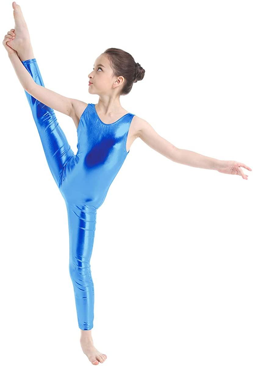 winying Girls Shiny Metallic Sleeveless Gymnastics Leotard Unitard Zentai Dancewear