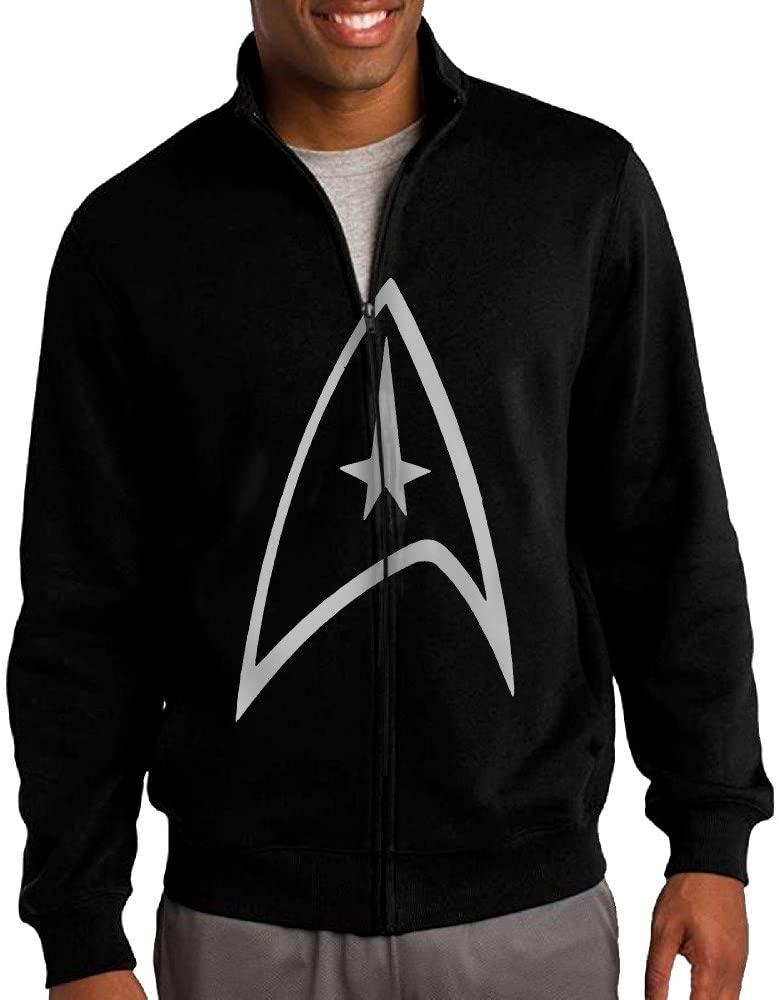 ILKU Mens Star Trek Badge Logo Zip-Front Hoodie Jacket Black