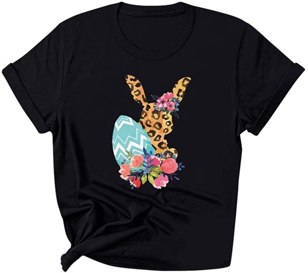 Passwolf Women's Easter O-Neck Leopard Printing Short Sleeve Slim Tee T-Shirt