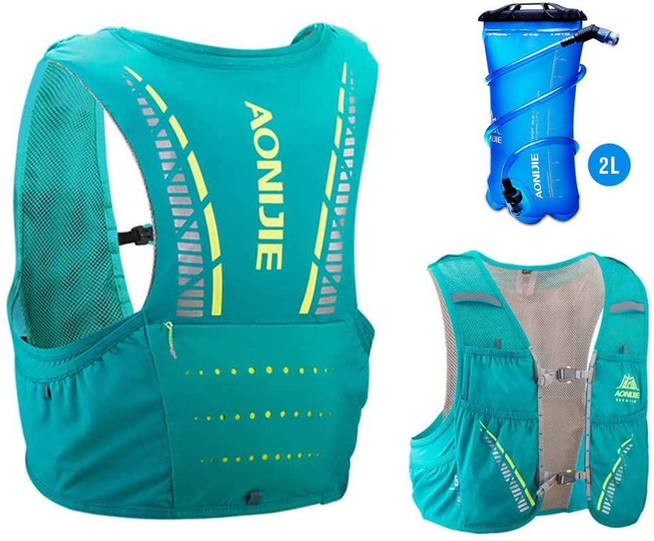 AONIJIE 5L Ultra Light Backpack Hydration Vest Pack with Soft Water Bottle/Bladder for Men Women Running Hiking Marathon Cycling Trail