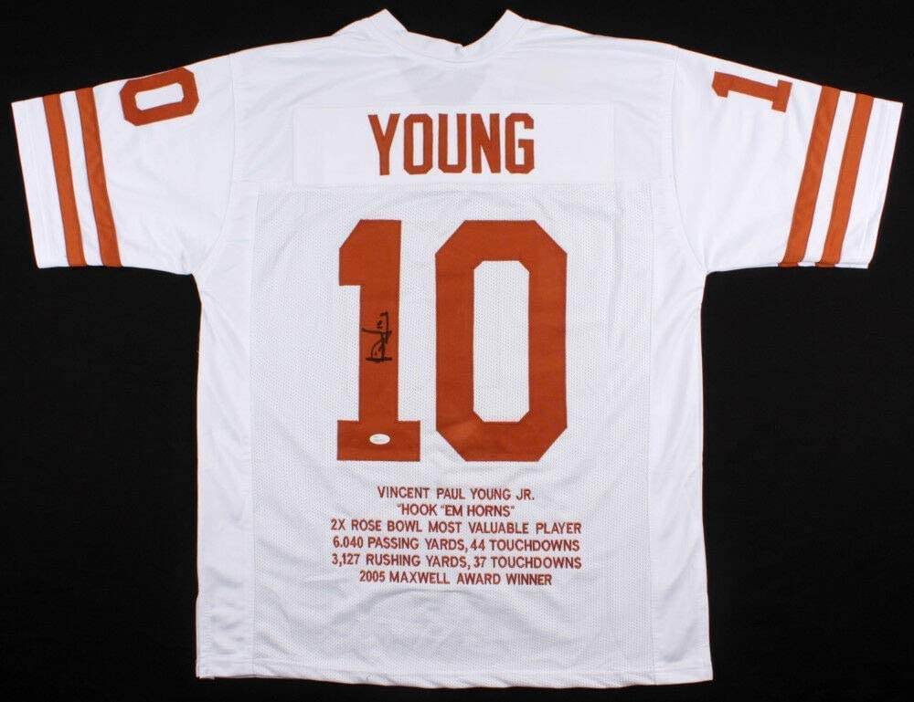 Vince Young Autographed Signed Texas Longhorns Career Highlight Stats Jersey (JSA COA)