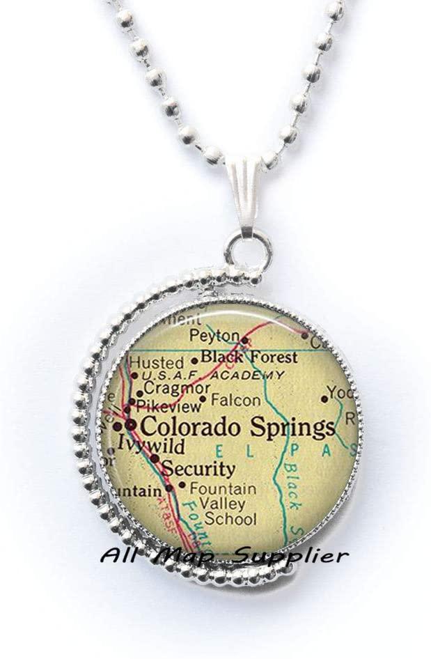 AllMapsupplier Fashion Necklace Colorado Springs map Necklace,Colorado Springs map Pendant Colorado Springs Pendant Colorado Springs Necklace,A0020
