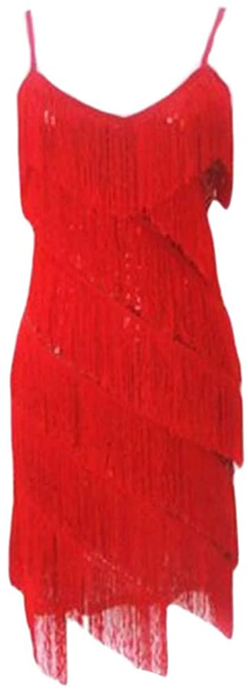 George Jimmy Halter Latin/Rumba/Cha-cha Dance Dress Sequins Fringe Dance Skirt-Red