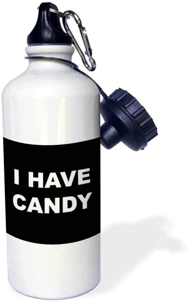 3dRose Stamp City - Typography - I Have Candy. White Lettering on Black Background. - 21 oz Sports Water Bottle (wb_323353_1)