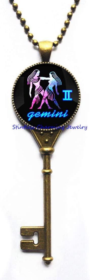 Gemini Key Necklace, Gemini Jewelry, Zodiac Key Necklace, Zodiac Gift, Best Friend Key Necklace, Birthday Gift, Bridesmaid Gift-JV40