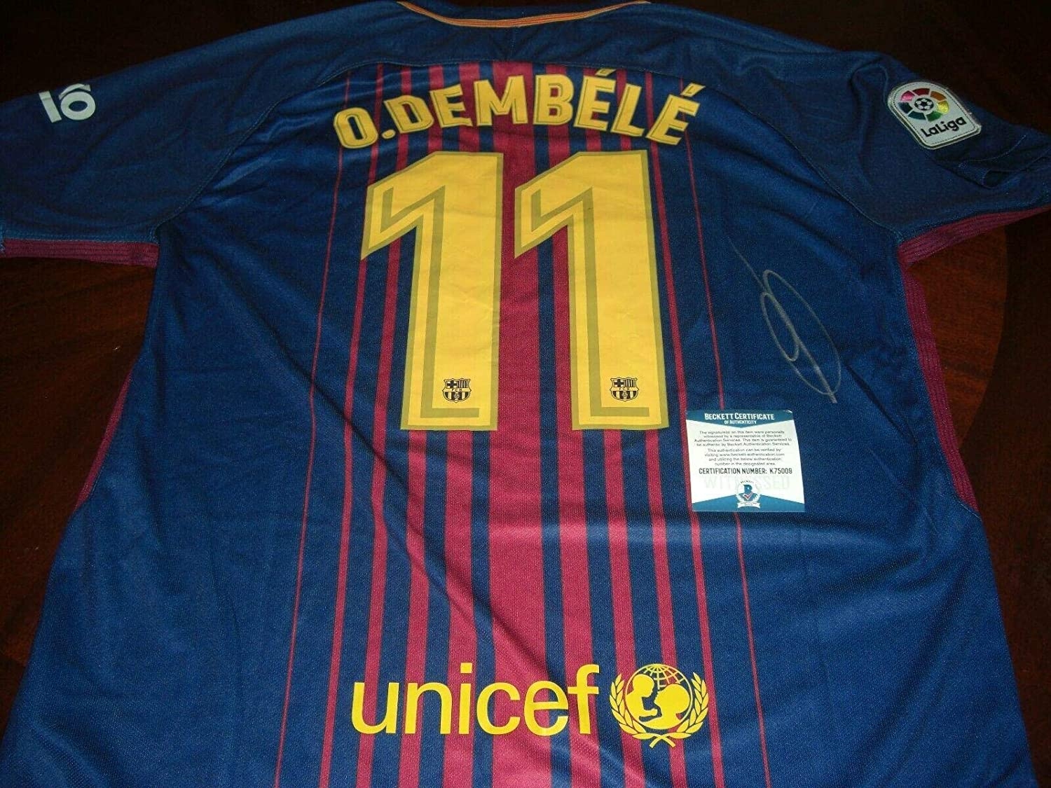 Ousmane Dembele Signed Jersey - France 2018 World Cup Champs Beckett coa - Beckett Authentication - Autographed Soccer Jerseys
