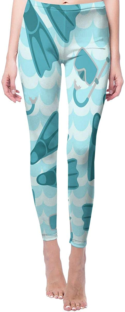 Flippers Mask and Snorkel Yoga Pants Womens High Waist Sport Leggings
