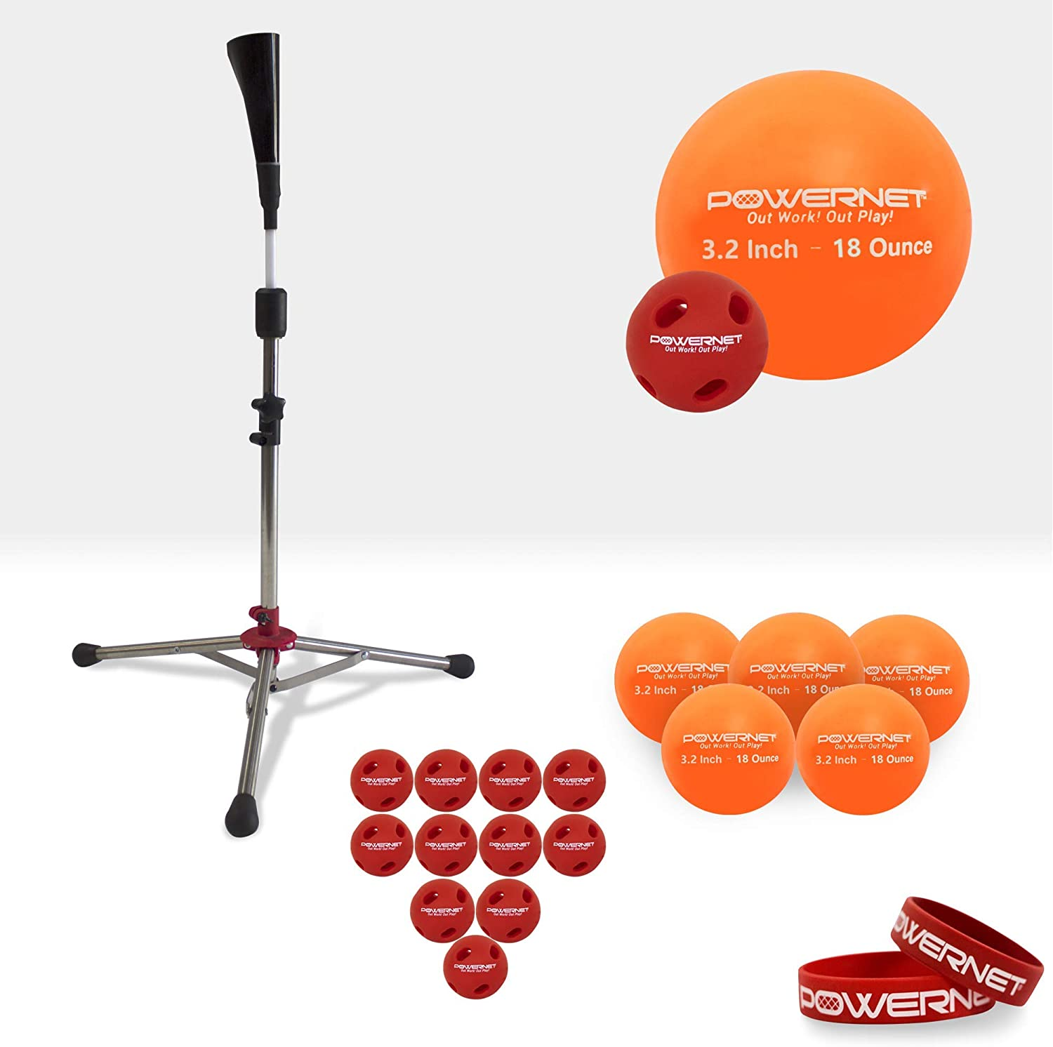 PowerNet Coordination Enhancer Bundle for Baseball Softball | Improve Eye Coordination & Strength | Includes a Heavy Tee, 6 Pack of 3.2