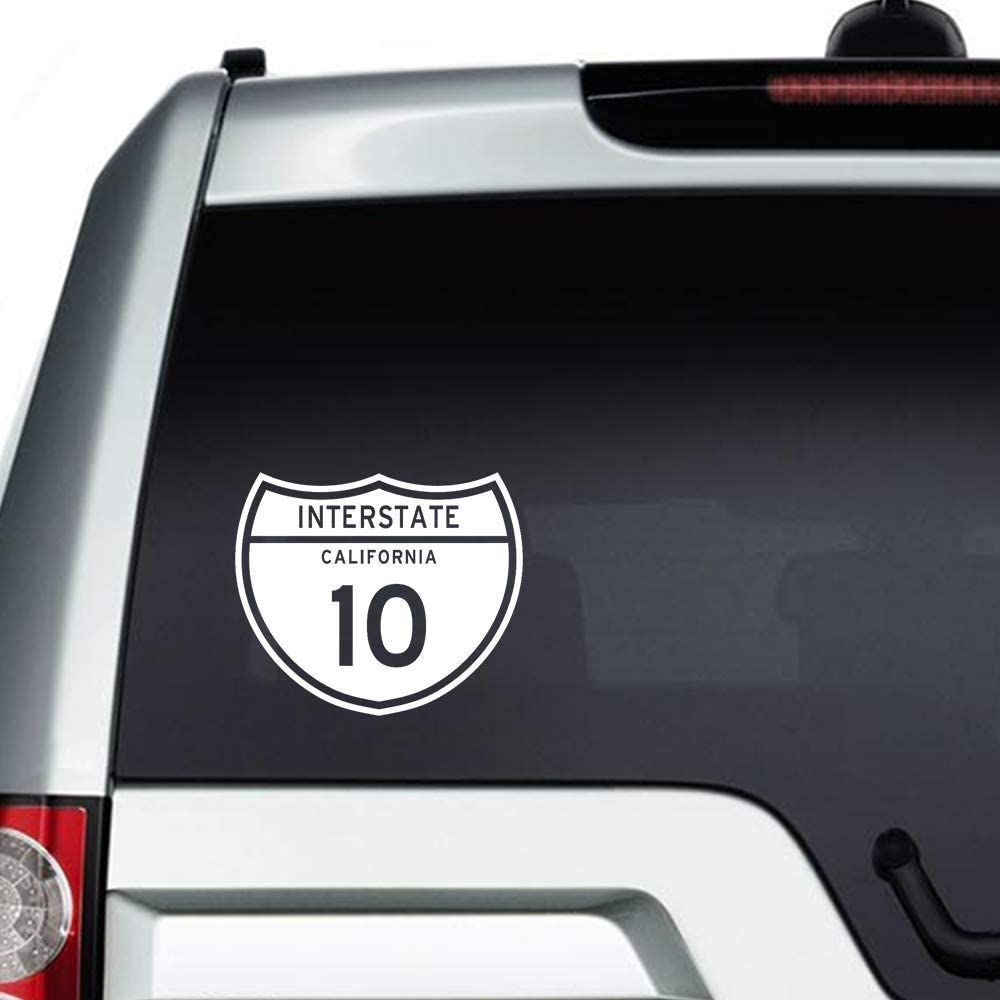 None Brand Interstate 10 California Vinyl Sticker Graphic Bumper Tumbler Decal for Vehicles Car Truck Windows Laptop MacBook Phone Wall Door
