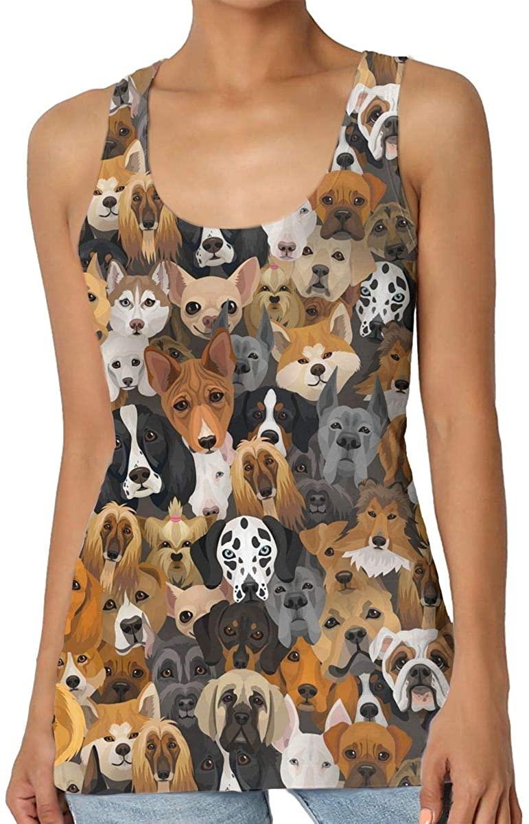 Women's Tank Top Husky Dalmatian Bulldog 3D Printed Sleeveless Racerback Vest Shirts