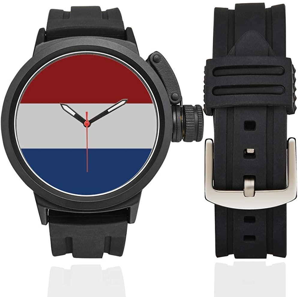 QUICKMUGS2U National Flag Series The Dutch Flag Men's Sports Analog Quartz Watch Large Face Wrist Business Casual Watch for Men