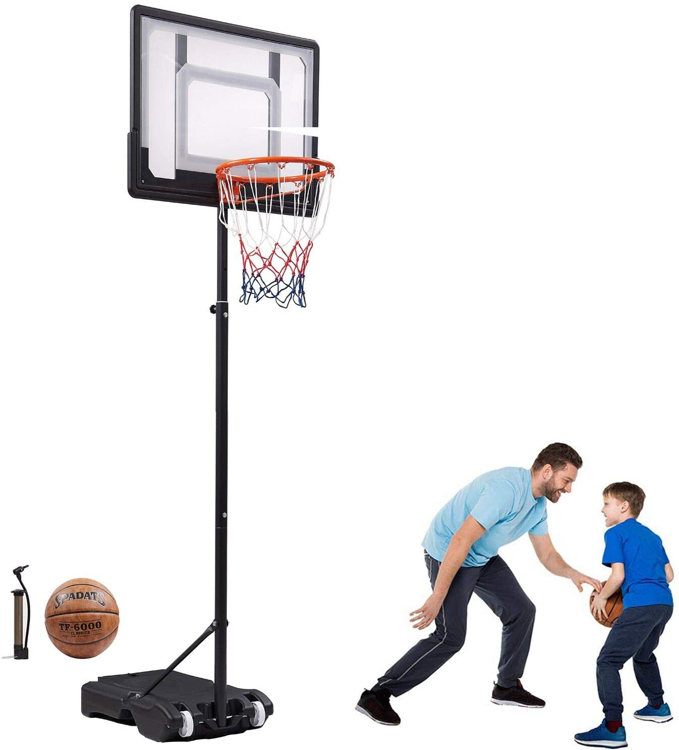 Bodywell Portable Basketball Hoop for Kids Basketball Hoop&Goal Basketball Stand System Backboard Equipment for Youth Teens Height Adjustable 65-82.6in Outdoor Indoor (with Basketball)