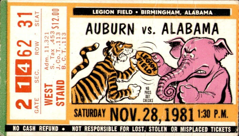 1981 Alabama Crimson Tide v Auburn Football Ticket Bear Bryant 315th Win 60520
