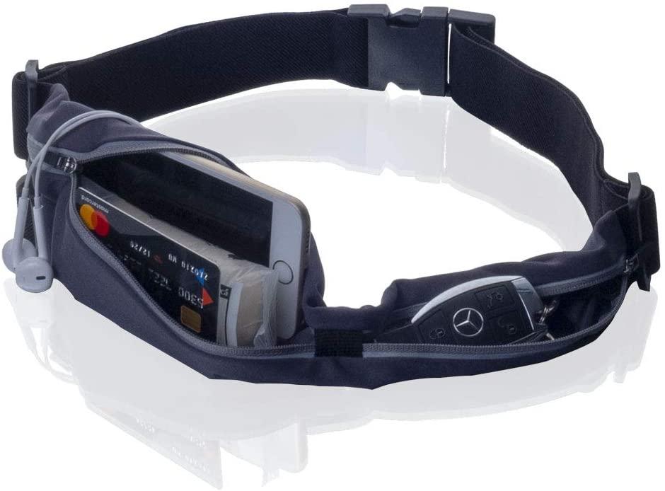 Running Belt Waist pouch for Phone Reflective Sports Belt Bag with Zipper Pocket Jogging Belt Runners belt for Adjustable Fitness Walking Climbing Exercise Workout Run Waistband Women and Men