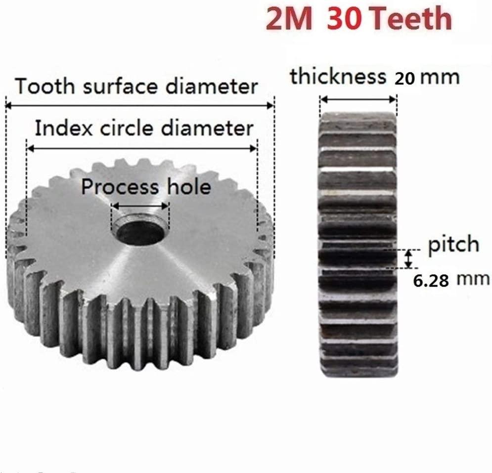 MOUNTAIN MEN 2Pcs 2M 30Teeth Spur Gear Carbon 45# Steel Micro Motor Transmission Parts Gear Box Mating Parts CNC Robot Accessories