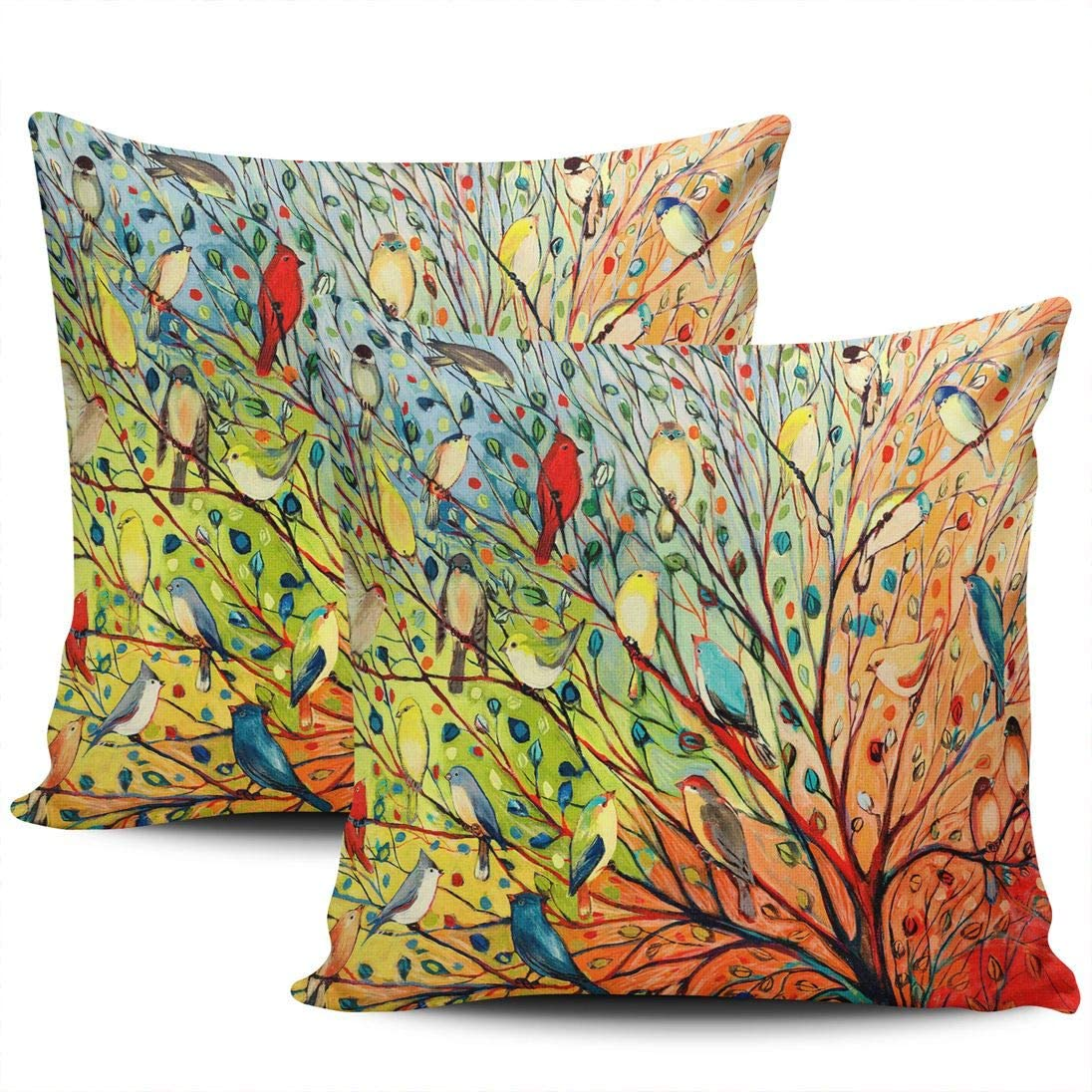 LEKAIHUAI Home Decoration Throw Pillow Covers Colorful Life Tree with Birds Pillowcases Square Two Sides Print 22x22 Inches Set of 2