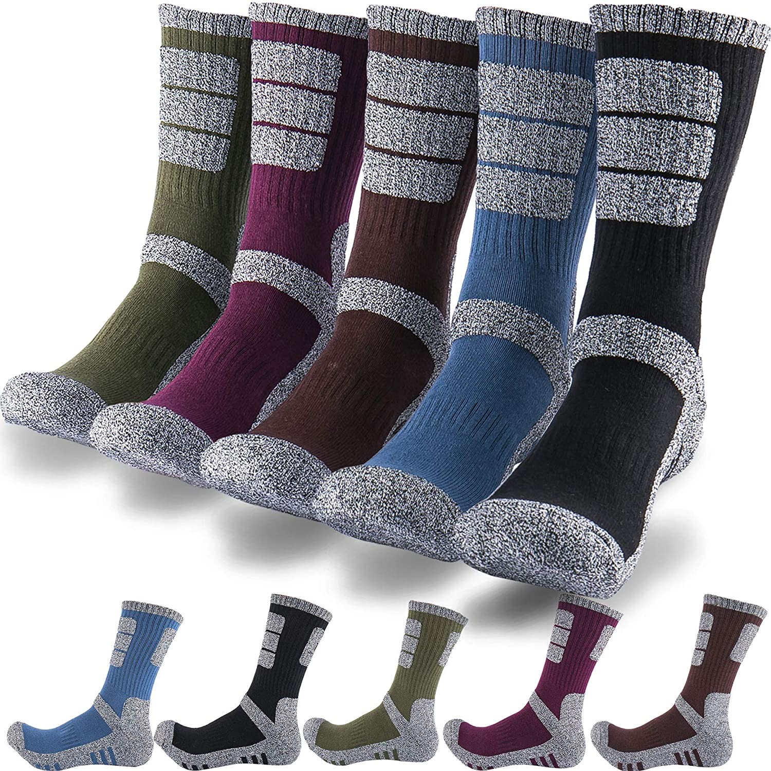 DEARMY 5Pack of Mens Multi Performance Cushioned Athletics Hiking Crew Socks | Moisture Wicking | Year Round