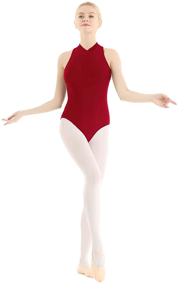 TiaoBug Women's Ballet Dance Leotard High Neck Sleeveless Mesh Back Zip Gymnastics Bodysuit