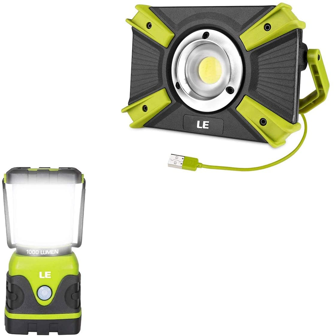 LE Bundle-2 Items: Battery Powered 1000 lumens Camping Lantern & 1500 lumens Rechargeable Work Light with Power Bank, Portable Indoor Outdoor Lantern