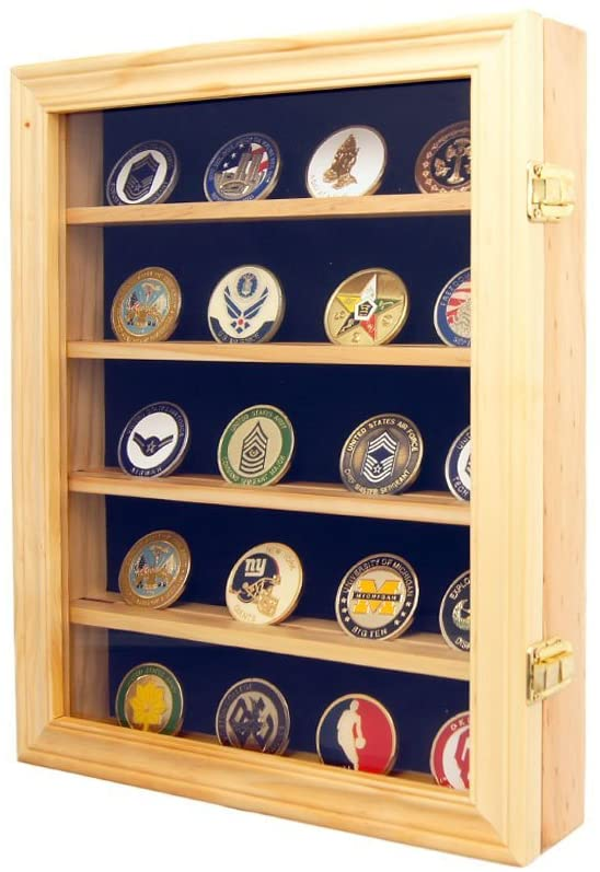 DECOMIL Lockable 30 Military Challenge Coin, Poker Chip, Sports Coin Display Case Cabinet, Glass Door, Coin30-OA