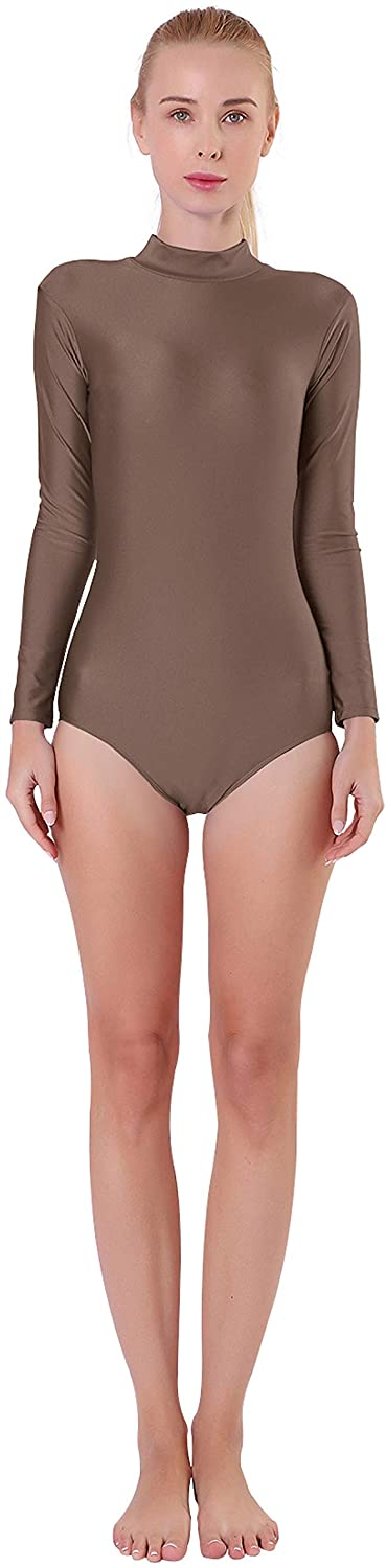 Kepblom Adult Ballet Dance Leotard Turtleneck Long Sleeve Spandex Bodysuit Tops for Women