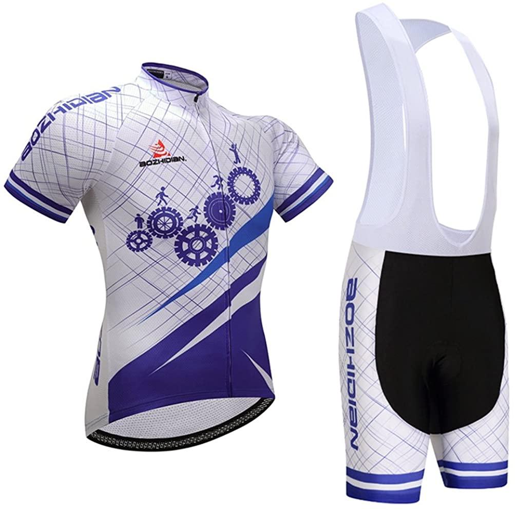 Uriah Men's Cycling Jersey Short Sleeve White Bib Shorts Sets