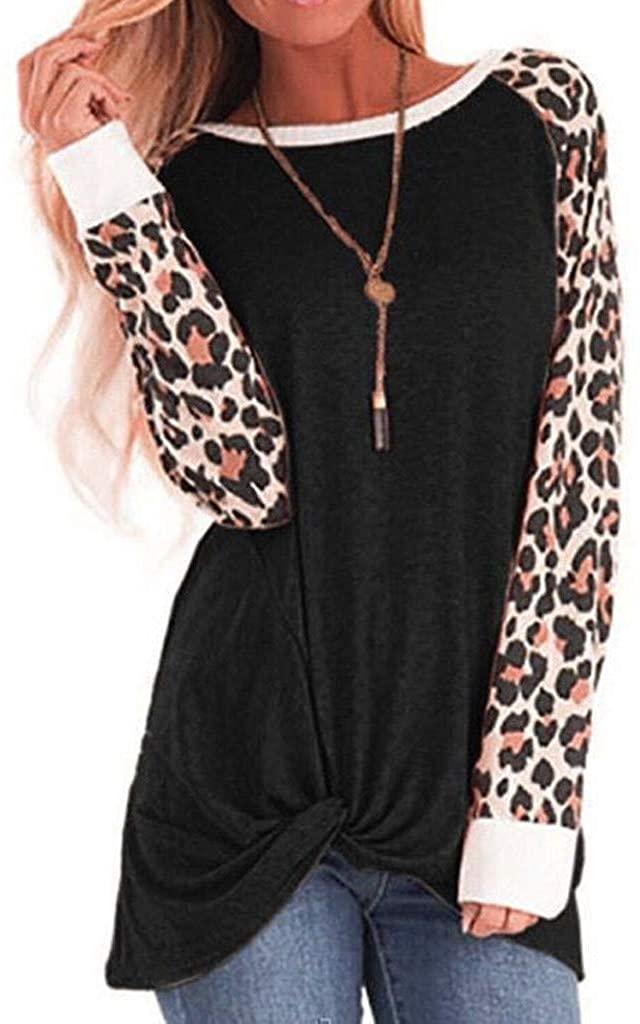 Women O-Neck Cotton Leopard Long Sleeve Plus Size Tops Bloues T Shirt