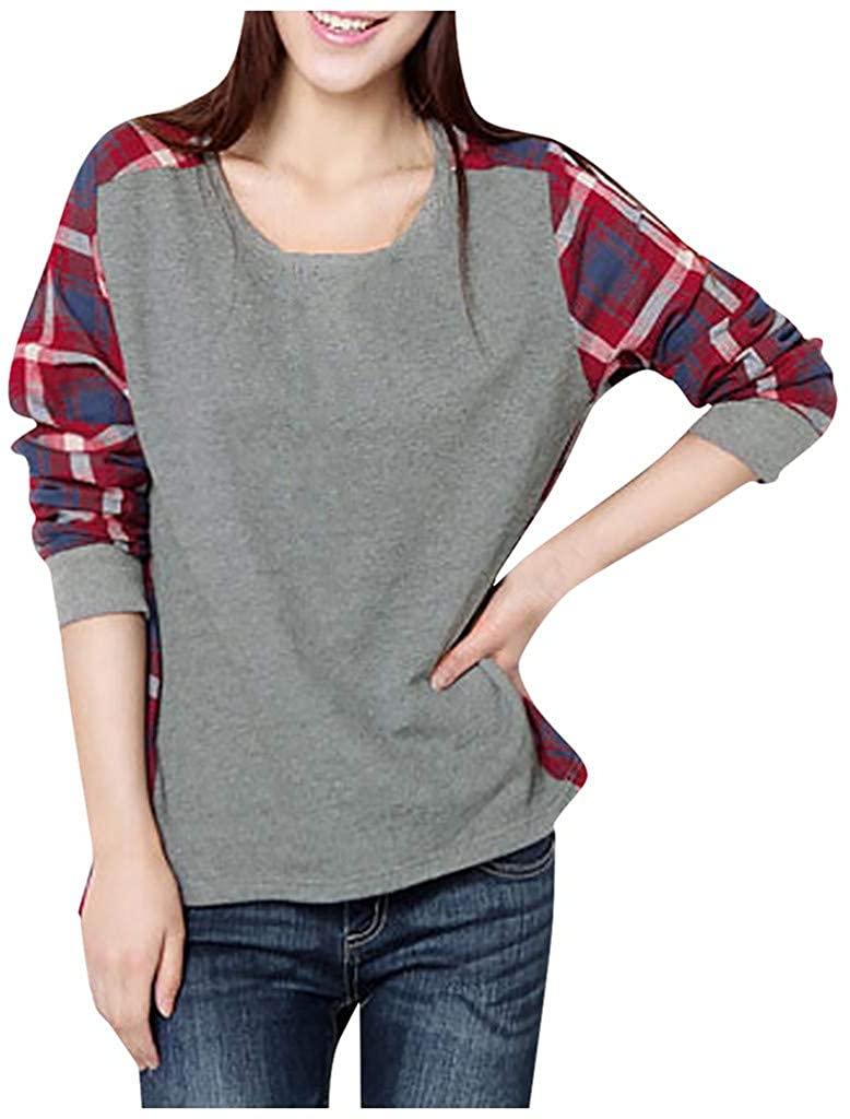 Women O Collar Splicing Lattice Casual Long Sleeve Bottoming Tops Sweatshirt
