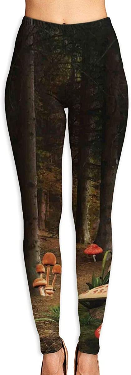 Yoga Pants for Women Womens Leggings Mushroom in Dark Forest Running Workout Power Stretch Long Trousers Athletic Gym