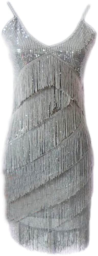 George Jimmy Latin Rumba Cha,cha Dance Skirt Sequins Fringed Costume Dance Dress,Gray