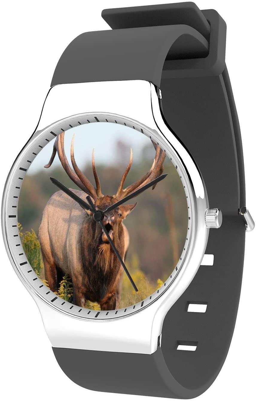 Modern Unisex Wrist Watch, Minimalist Fashion Waterproof Watches Simple Silicone Band Dress Watches for Business Men (Elk)