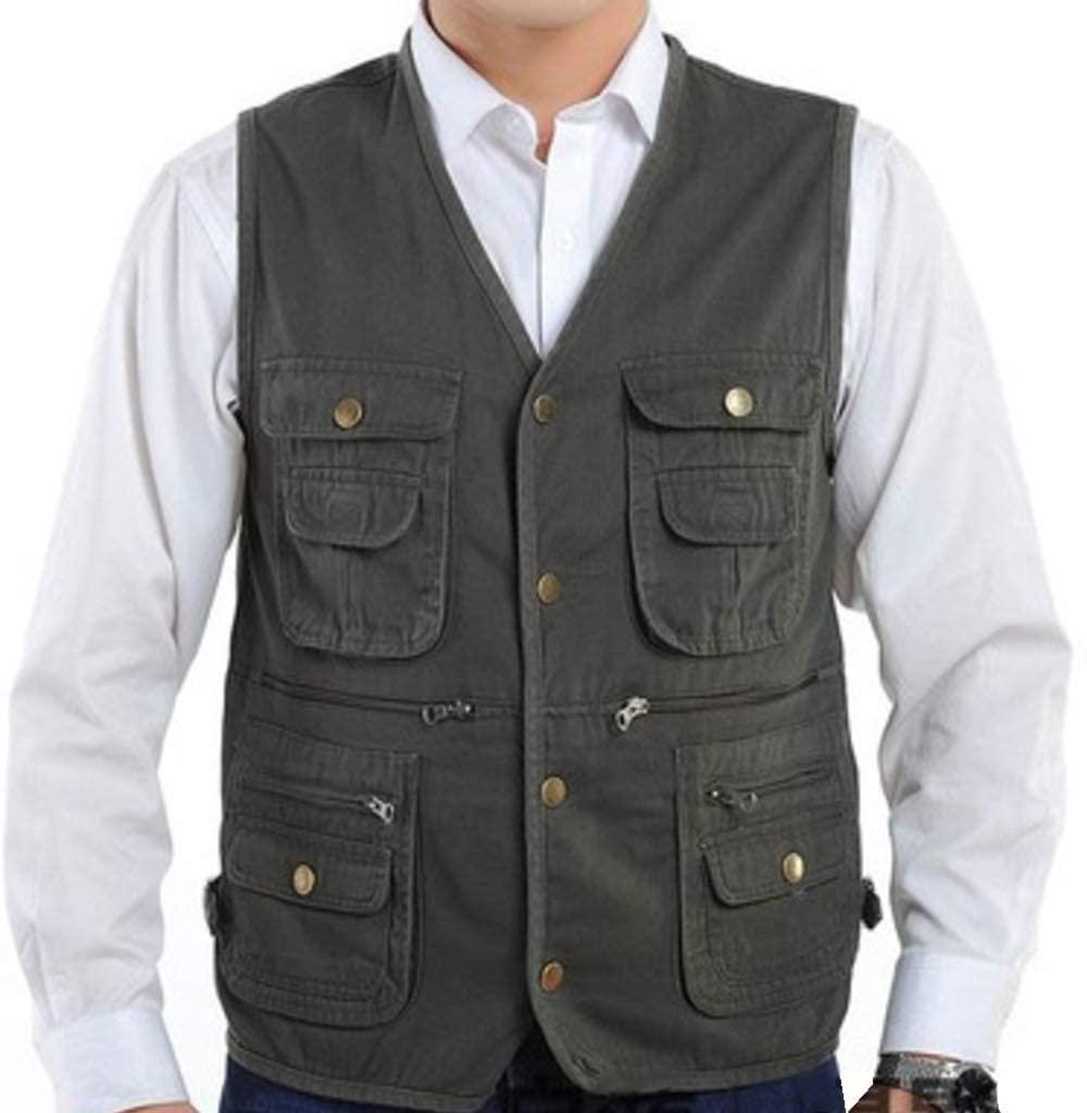 WEWE Fishing Waistcoat,Thin Breathable Multi Pockets Vest Outdoor Photography Cotton Gilet Men Sleeveless Jacket