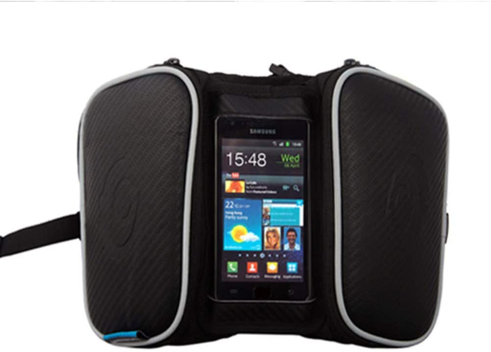 GSERA Waterproof Cycling Bike Bicycle Bags Panniers Frame Front Tube Bag for Cell Phone Double Pouch Holder Touch Screen Bag