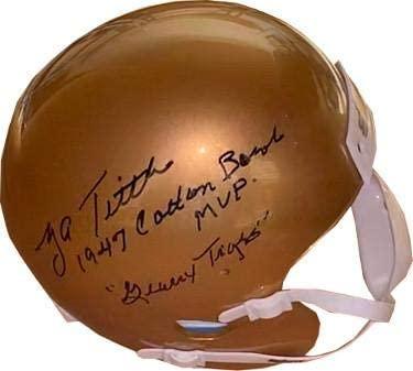 Y.A. (YA) Tittle signed LSU Tigers Schutt Mini Helmet dual 1947 Cotton Bowl MVP & Geaux Tigers - JSA Certified