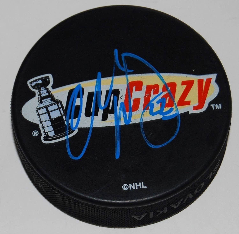 Autographed Charlie Huddy Puck - CUP CRAZY souvenir logo W COA - Autographed NHL Pucks