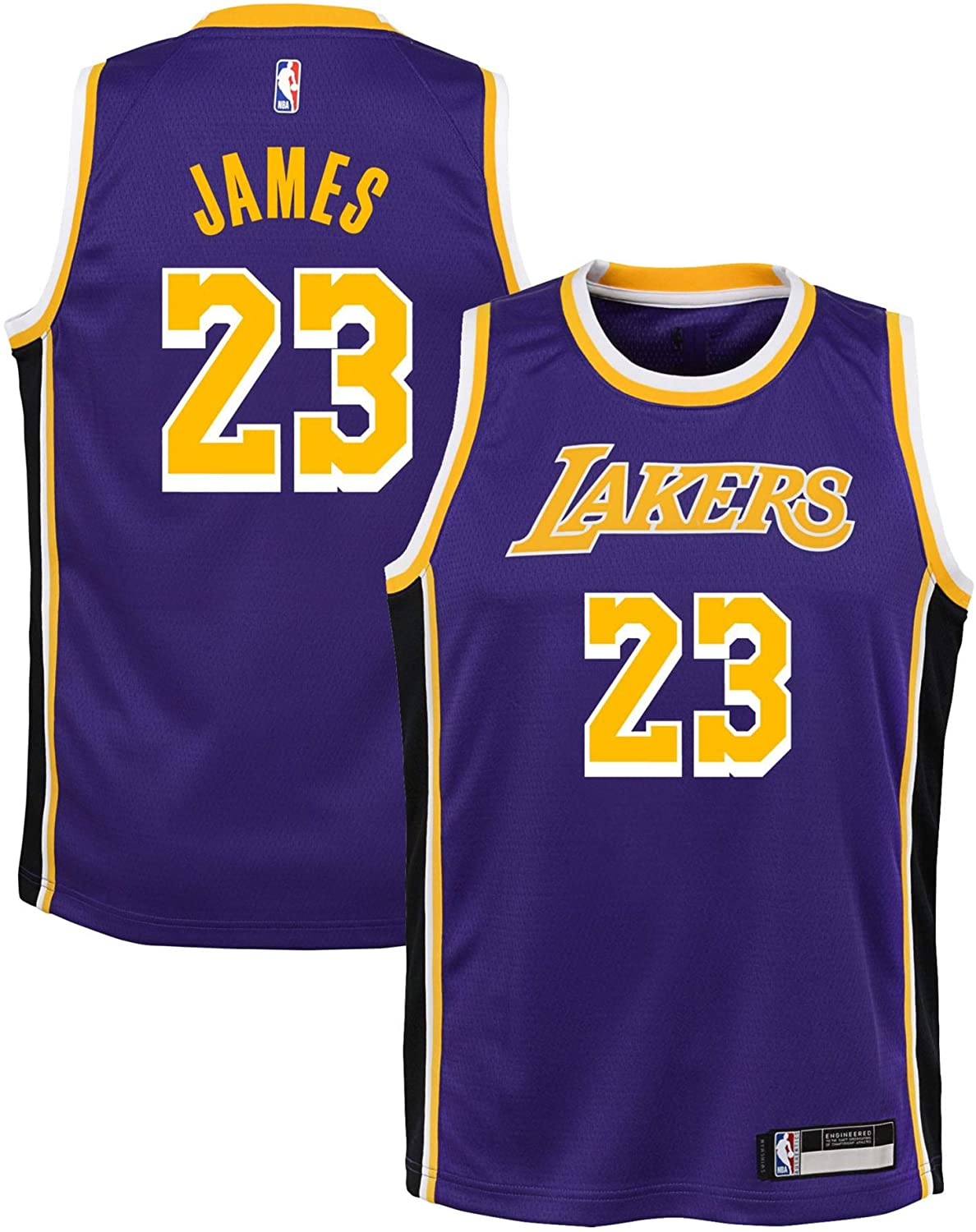 OuterStuff Lebron James Los Angeles Lakers #23 Purple Youth Statement Edition Swingman Jersey