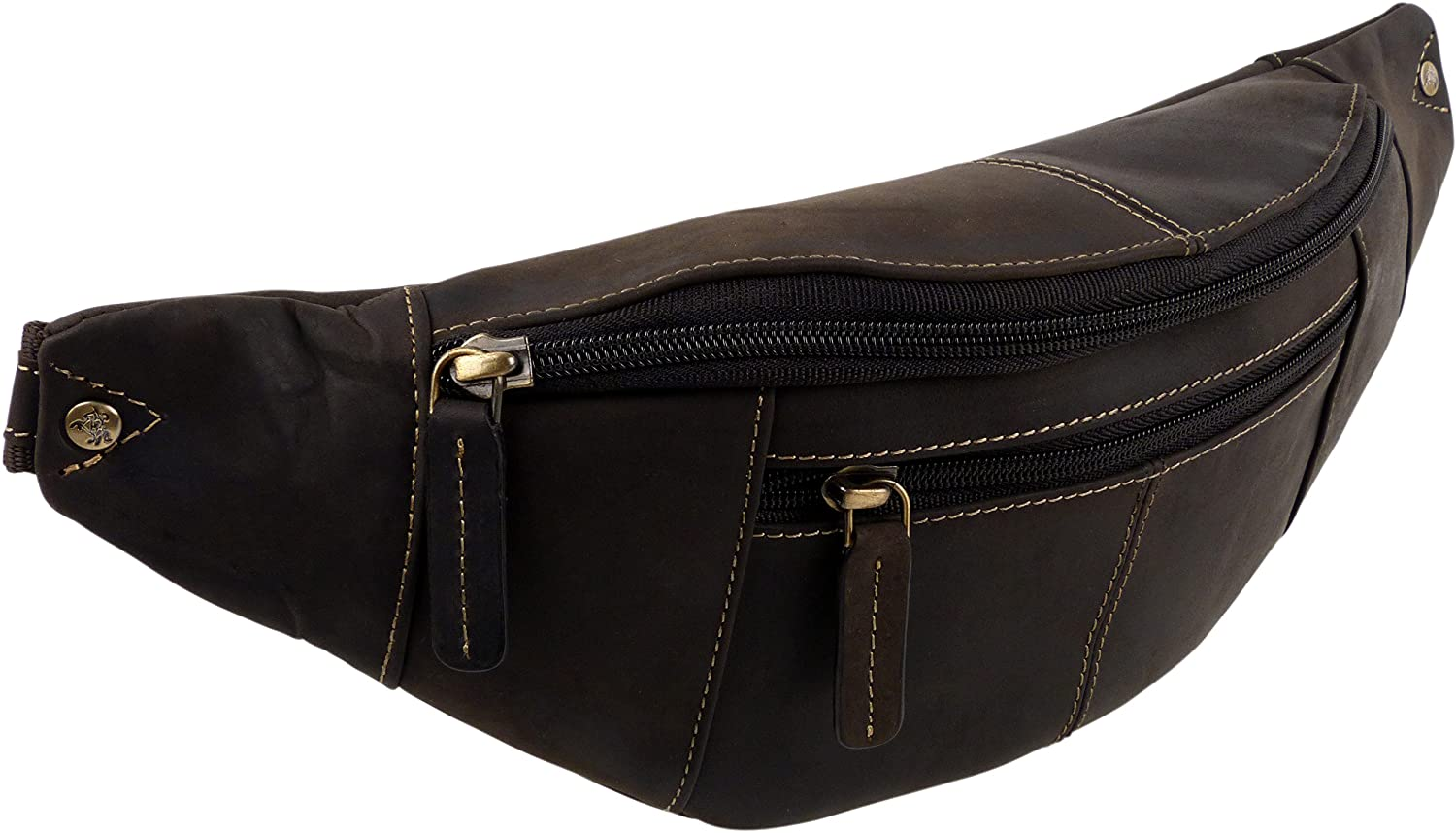 Visconti Oil Leather Waist Bum Bag by Fanny Pack Top Travel Handy Oil Brown
