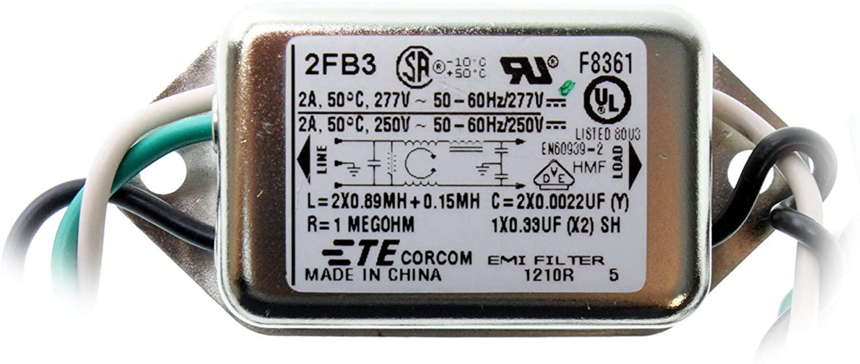 Corcom TE Connectivity 2FB3 Power Line Filter, 2-Amp, 277-Volt, 50/60Hz