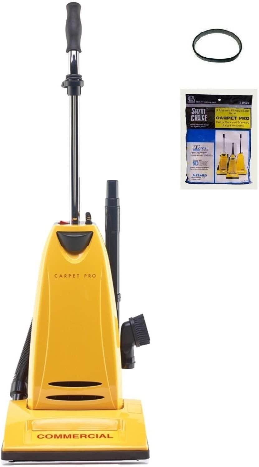 Carpet Pro CPU 2t Commercial Vacuum Cleaner + 3pk Upright Bags + CPU1/CPU2 Belt