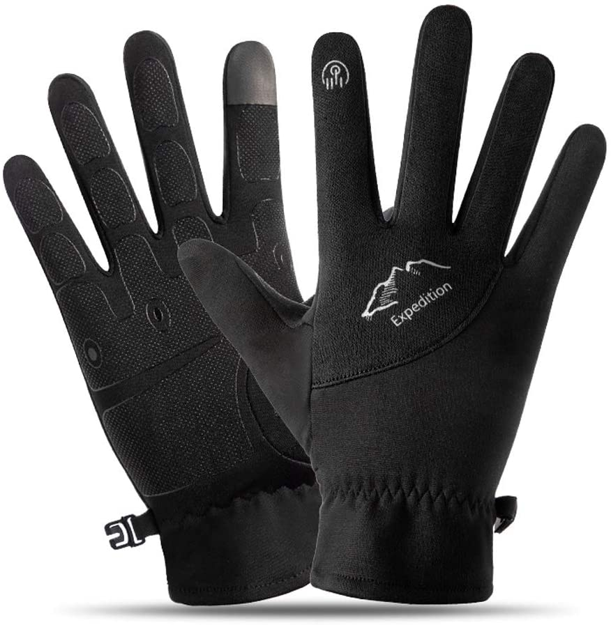 SPRRC Outdoor Warm Gloves for Men and Women in Autumn and Winter All Refers to Cold and Warm Waterproof Running Riding Mountain Takeaway Touch Screen Students Slip Plus Velvet Warm Gloves