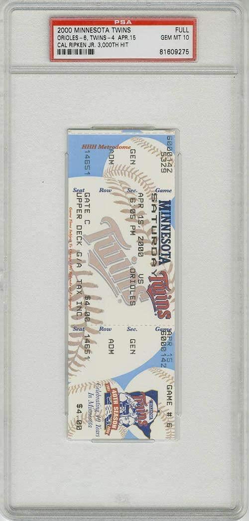 Cal Ripken Jr. 3000 HIT FULL TICKET ENCAPSULATED Baltimore Orioles Mint - PSA/DNA Certified - MLB Unsigned Miscellaneous